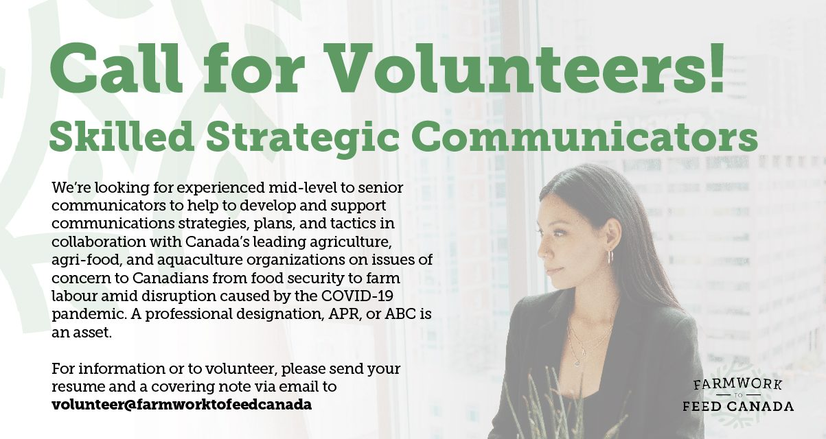 Skilled Strategic Communicators (Volunteer position) – Farmwork to Feed Canada